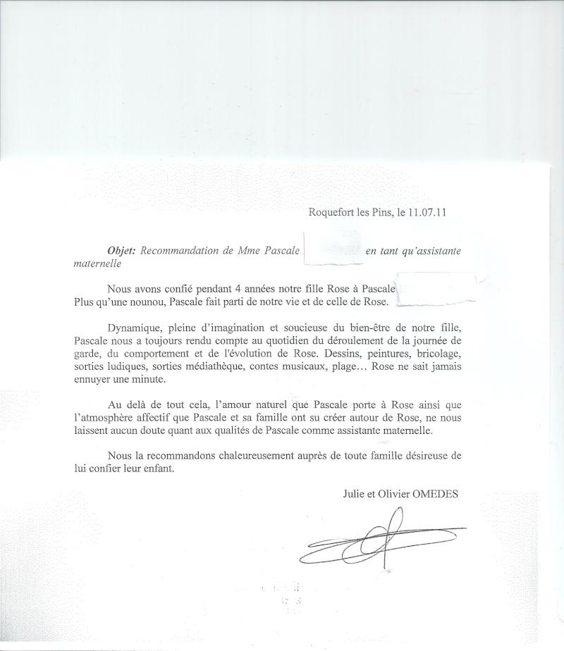 lettre de recommandation nourrice