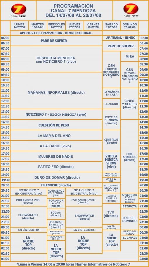 Programaci n canal 7 mendoza del 14 al 20 de julio de for Programacion canal cocina hoy