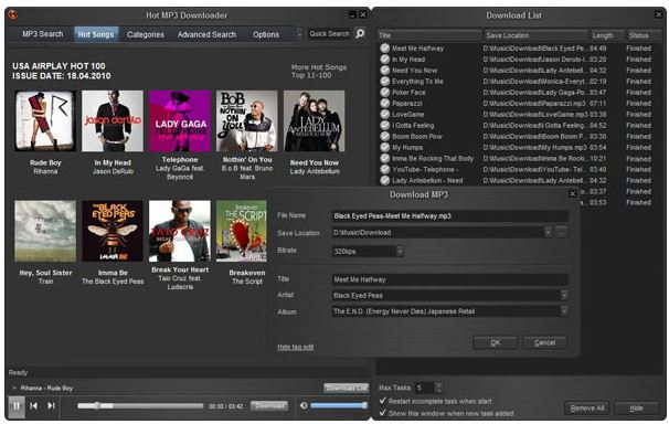 Hot MP3 Downloader 3.3.5.6 - Descargando música