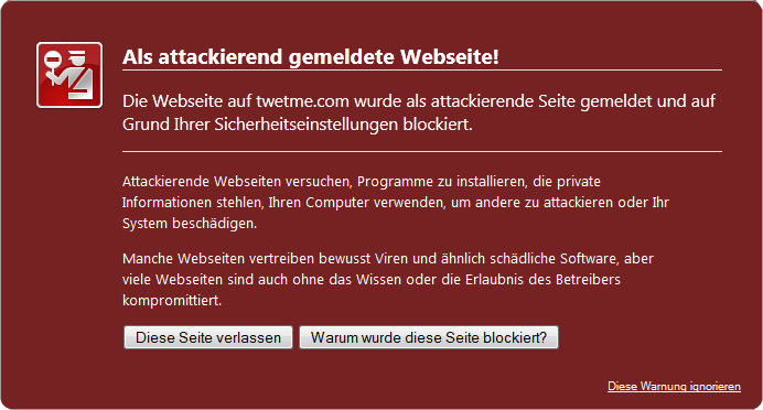 Die Webseite auf twetme.com wurde als attackierende Seite gemeldet und auf Grund Ihrer Sicherheitseinstellungen blockiert.