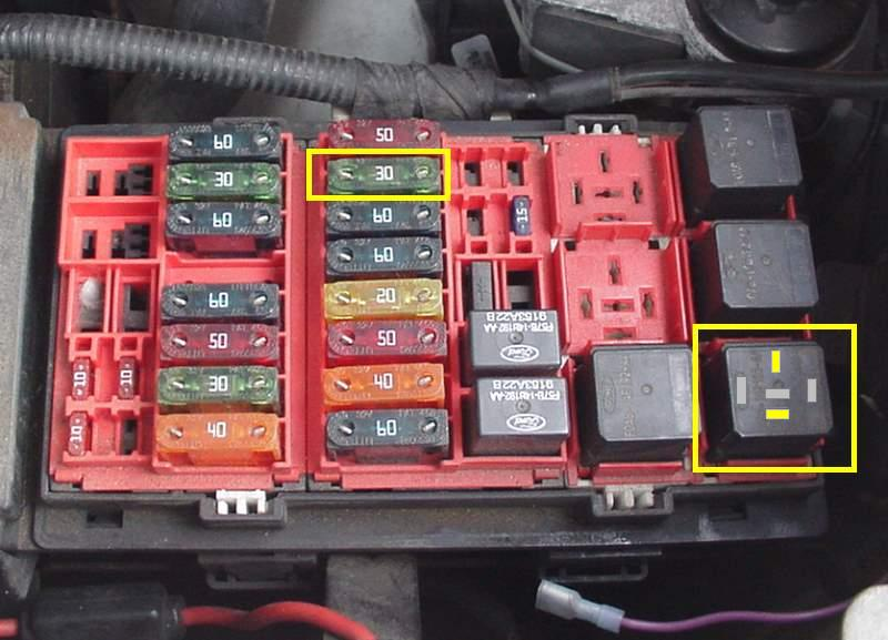 99 ford f250 fuel pump relay location