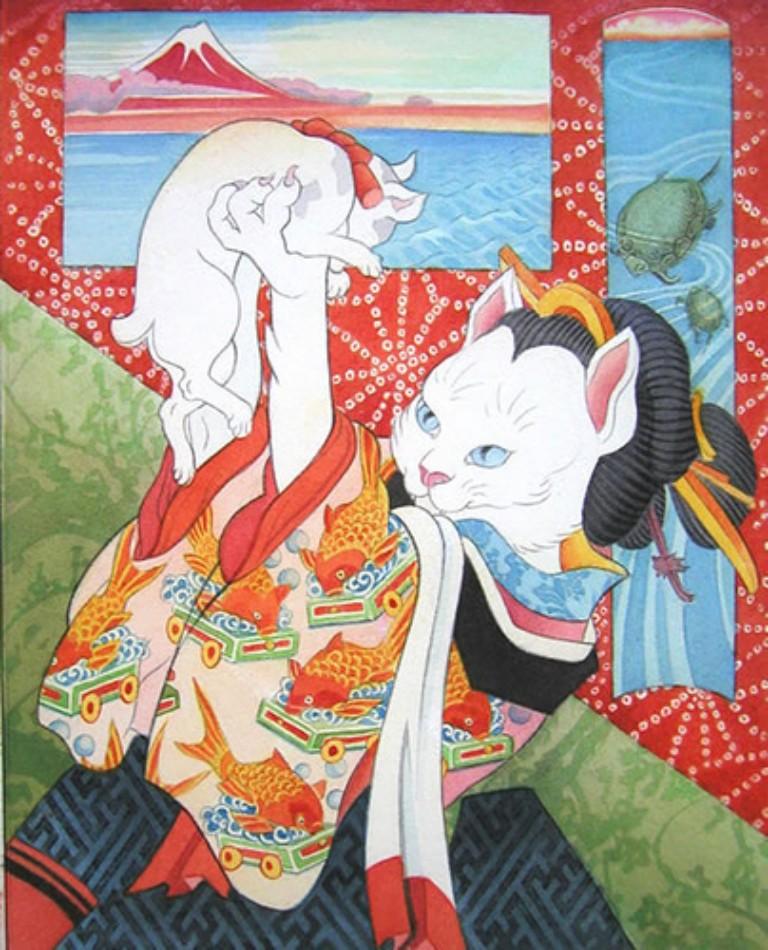 Art japonais autour des chats BONHEUR DE LIRE