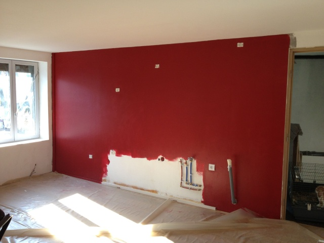 Sy m photos de mon salon en cours besoin de conseils for Cuisine grise mur rouge