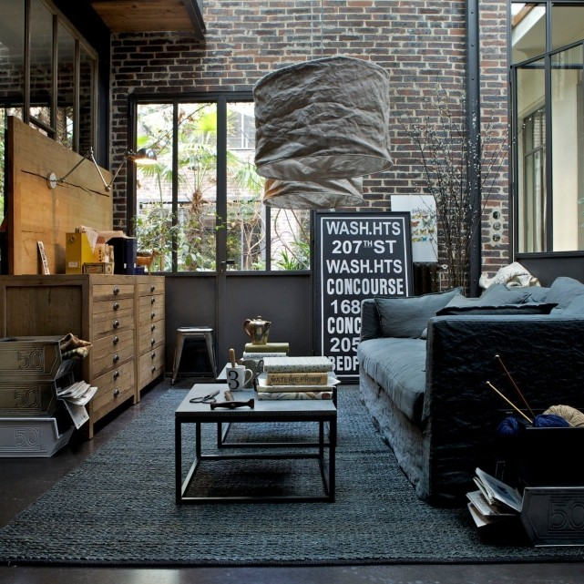 help nouvelle deco salon type industriel loft. Black Bedroom Furniture Sets. Home Design Ideas