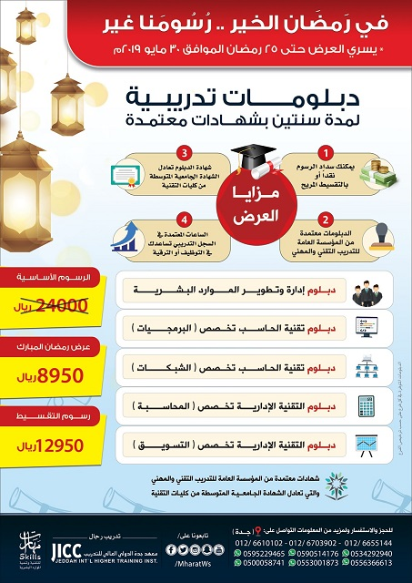 دبلومات تدريبية لمدة سنتين بشهادات معتمدة في مدينة جدة